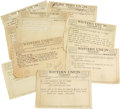 Music Memorabilia:Memorabilia, John Lee Hooker Telegrams. Set of ten Western Union telegrams fromJohn Lee Hooker to Vee Jay Records, almost all of them as...