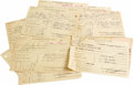 Music Memorabilia:Memorabilia, John Lee Hooker Money Order Receipts. Group of 19 Western Unionmoney transfer receipts, dated between February 16, 1956, an...
