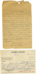 Music Memorabilia:Autographs and Signed Items, John Lee Hooker Handwritten Letter and Signed Receipt. Included isa handwritten letter in pencil on a sheet of notepad pape...