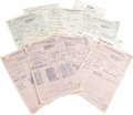 Music Memorabilia:Documents, John Lee Hooker Documents. Included are carbons from AmericanFederation of Music contracts dated from February 26 to May 29...