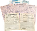 Music Memorabilia:Autographs and Signed Items, Jimmy Reed Signed Documents. Set of documents includes an AmericanFederation of Musicians contract dated January 18, 1955, ...