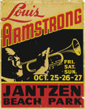 "Music Memorabilia:Posters, Louis Armstrong Jantzen Beach Park Concert Poster (1946). The great""Satchmo"" is blowing his horn in the middle of this Port..."