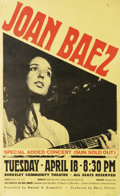 Music Memorabilia:Posters, Joan Baez Berkeley Concert Poster (Manuel Greenhill, 1967). Asuperb folk singer as well as a close personal friend of Bob D...