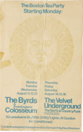 Music Memorabilia:Posters, The Byrds/Velvet Underground Boston Tea Party Concert Poster(1969). Here's one we bet you haven't seen before! It's an extr...