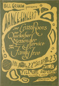 Music Memorabilia:Posters, Grassroots/Quicksilver Messenger Service Fillmore Concert PosterBG-0 (Bill Graham Presents, 1966). One of the earliest Bill...