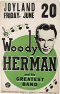 "Music Memorabilia:Posters, Woody Herman Joyland Concert Poster (1956). Sax great Woody Hermanand his Herd (listed here simply as ""...his Greatest Band..."
