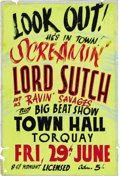 "Music Memorabilia:Posters, Screaming Lord Sutch Torquay Concert Poster (1962). David Edward""Screaming Lord"" Sutch is a very English oddity in the ent..."