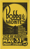 Music Memorabilia:Posters, Bobby and the Midnites/Stevie Ray Vaughan and Double Trouble ManorDowns Concert Mini Poster (1982). This sharp-looking mini...