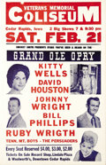"Music Memorabilia:Posters, Kitty Wells Veterans Memorial Coliseum Concert Poster (Smokey SmithPresents, 1959). A beautiful copy of this ""Grand Ole Opr..."