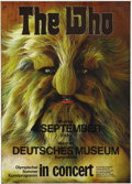 """Music Memorabilia:Posters, The Who """"Wolf Man"""" Munich Concert Poster (1972). This rather hairydesign (by artist Gunther Kieser) was used for several da..."""