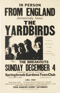 "Music Memorabilia:Posters, The Yardbirds Lima, Ohio Concert Poster (1966). The ""dream"" line-upof this famous band is pictured here, featuring both Jef..."