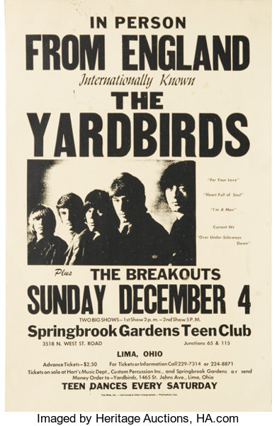 The Yardbirds Lima, Ohio Concert Poster (1966)  The