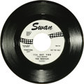 """Music Memorabilia:Recordings, Beatles """"I'll Get You"""" One-Sided Promo 45 Swan 4152 (1964). Rarepromo copy has black print on a white label, with the messa..."""