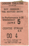 Music Memorabilia:Tickets, Roy Orbison/Beatles Concert Ticket. A used ticket for a June 5,1963, performance at the Odeon Theatre in Leeds. At the time...
