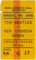Music Memorabilia:Tickets, Beatles/Roy Orbison Concert Stub. A used ticket from the June 9,1963, performance at King George's Hall, the last date in t...