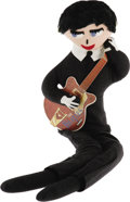 "Music Memorabilia:Memorabilia, George Harrison Plush Mascot Doll. A 30"" George Harrison ""OfficialMascot Doll"" with cardboard guitar, released by Remco in ..."