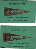 "Music Memorabilia:Memorabilia, The Cavern Membership Booklet, Group of 2 (1964) Beatlemania's""ground zero"" was a dark, dank, basement club in Liverpool kn...(Total: 2 )"