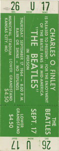 "Music Memorabilia:Tickets, Beatles Kansas City ""Extra Show"" Concert Ticket. The Beatles hadoriginally planned on resting a bit on September 17, 1964, ..."