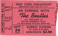"Music Memorabilia:Tickets, Beatles New York paramount Concert Stub. Titled ""An Evening withthe Beatles,"" this September 20, 1964 charity concert drew ..."