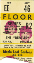 Music Memorabilia:Tickets, Beatles Maple Leaf Gardens 1965 Concert Stub. Ticket stub from the8:30 p.m. performance on August 17, 1965, one of two 27-m...