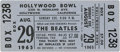 Music Memorabilia:Tickets, Beatles Hollywood Bowl Concert Ticket. From their August 29, 1965 performance, the first of two at the venue, attended by 18...