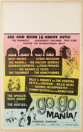 "Music Memorabilia:Posters, Go Go Mania Window Card (American International, 1965). Thisquickie Rock performance film was titled ""Pop Gear"" for its ori..."