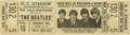 Music Memorabilia:Tickets, Beatles Unused D.C. Stadium Concert Ticket. More than 32,000 fansattended this August 15, 1966 show, as did a handful of Ku...