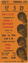 Music Memorabilia:Tickets, Beatles JFK Stadium Concert Ticket Stub, 1966. Twenty-one thousand people attended this August 16, 1966 performance in Phila...