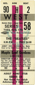 Music Memorabilia:Tickets, Beatles Maple Leaf Gardens Concert Ticket. The band played twoshows at this venue on August 17, 1965, and John Lennon gener...