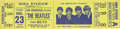 Music Memorabilia:Tickets, Beatles Shea Stadium Concert Ticket. An unsued ticket for theirAugust 23, 1966, show in New York, one of their last before ...