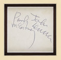 Music Memorabilia:Autographs and Signed Items, John Lennon and Paul McCartney Autographs. Large, bold signaturesfrom John and Paul on the back of a Beatles promo card in ...