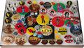 Music Memorabilia:Memorabilia, Collection of Beatles Buttons. Set of 55 Beatles buttons, mostly from the 1970s, mounted and framed to an overall size of 20...