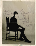 "Music Memorabilia:Autographs and Signed Items, Paul McCartney Signed Photo. A b&w 6.5"" x 8.5"" photo of a youngMcCartney, inscribed ""To Dianne Love Paul McCartney XXXX,"" w..."