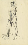 "Music Memorabilia:Original Art, Stuart Sutcliffe Sketch. A 4.5"" x 7"" ink sketch of a female nudefigure study drawn by the so-called ""Fifth Beatle,"" whose b..."