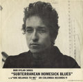 "Music Memorabilia:Recordings, Bob Dylan ""Subterranean Homesick Blues"" Rare Picture SleeveColumbia 43242 (1965). Generally considered the rarest of Dylan'..."