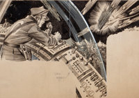 JULIAN KRUPA (American, 20th Century) Amazing Stories interior pulp illustration, 1939 Pen and ink o