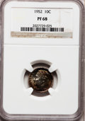 Proof Roosevelt Dimes: , 1952 10C PR68 NGC. NGC Census: (137/14). PCGS Population (30/0).Mintage: 81,980. Numismedia Wsl. Price for problem free NG...