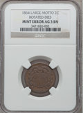 Errors, 1864 2C Two Cents Large Motto Rotated Dies AG3 Brown NGC. Mintage:19,847,500. (#3576)...