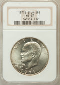 Eisenhower Dollars: , 1971-S $1 Silver MS67 NGC. NGC Census: (81/1). PCGS Population (376/2). Mintage: 2,600,000. Numismedia Wsl. Price for probl...