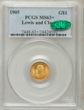 Commemorative Gold, 1905 G$1 Lewis and Clark MS63+ PCGS. CAC. PCGS Population(447/988). NGC Census: (222/626). Mintage: 10,000. NumismediaWsl...