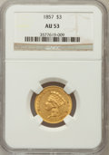 Three Dollar Gold Pieces: , 1857 $3 AU53 NGC. NGC Census: (74/440). PCGS Population (55/151).Mintage: 20,891. Numismedia Wsl. Price for problem free N...