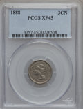 Three Cent Nickels: , 1888 3CN XF45 PCGS. PCGS Population (27/322). NGC Census: (6/237).Mintage: 36,500. Numismedia Wsl. Price for problem free ...