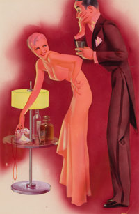 GEORGE PETTY (American, 1894-1975) Pin-Up with Gentleman, Esquire magazine illustration, September 1934