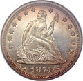 Proof Seated Quarters, 1874 25C Arrows PR67 NGC....