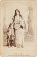 "Western Expansion:Indian Artifacts, Buffalo Bill's Wild West: A Scarce Cabinet Photo of Ellie Irving,""Sioux Princess"", and Her Son...."