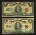 Canadian Currency: , DC-25b $1 1923. DC-25i $1 1923. ... (Total: 2 notes)