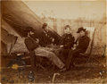 "Photography:CDVs, Civil War 7 1/4"" X 9 1/4"" Unmounted Albumen Portrait Of Four Civil War Officers...."