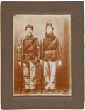 Photography:Cabinet Photos, C. 1900 Copy Of A Civil War Period Image Of Two Armed Soldiers....