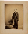 "Photography:CDVs, Civil War 6 1/4"" X 8 3/4"" Albumen Portrait of 6th Corps Federal Officer...."