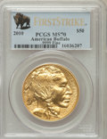 Modern Bullion Coins, 2010 $50 One-Ounce Gold Buffalo, First Strike MS70 PCGS. Ex: .9999Fine. PCGS Population (14048). NGC Census: (8849). (#4...